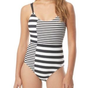 Michael Kors Strappy One Piece Swimsuit - Stripes